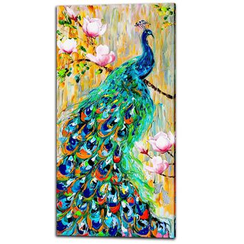 Unframed Decor Canvas Painting Wall Pictures 1 Panels Wall Art Peacock Canvas Art Home Decor Modern Pictures