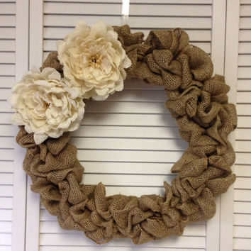 Large Burlap Wreath with Burlap Flowers, Wreath for All Year, Shabby Chic Decor, Burlap Wreath for Door, Wedding Decor