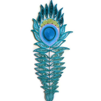 Feather wall art Wall decor Blue Teal Navy Green paper feather Paper quilling hanging Bedroom decor Home decor