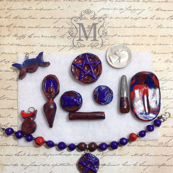 Deluxe Wicca Pagan Pocket Altar Red and Blue with Purple