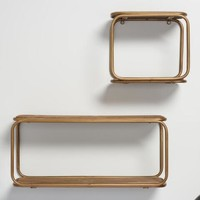 Wood and Brass Metal Wall Storage