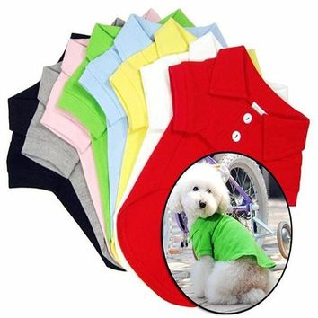 Pet Dog Polo T Shirt Solid Candy Colors Pet Dog Shirt Dog Cotton T-Shirt Polo Shirt #