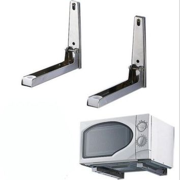 2pcs Stainless steel Foldable Microwave Oven Shelf Wall Mount Bracket Stand Support Holder
