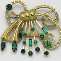 Sterling Silver BOND BOYD Vintage Faux Emerald Rhinestone Jeweled Pin
