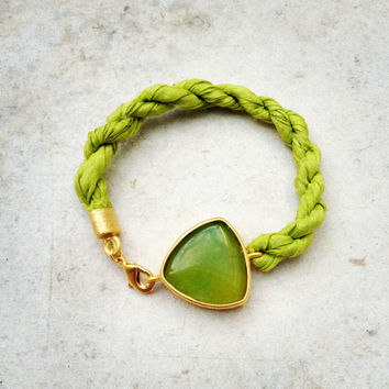 bracelet olive apple green large stone in gold frame gemstone handmade  bracelet gold bright  green natural silk israel jewelry