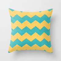 chevron - yellow and aqua Throw Pillow by her art
