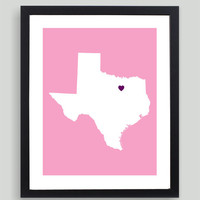 My Heart Resides In Texas Art Print - Any City, Town, Country or State Map Customized Silhouette Gift