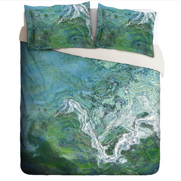 Duvet Cover with abstract art, king or queen in green and blue, Rising