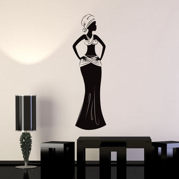 Vinyl Wall Decal African Woman Africa Ethnic Style Room Home Art Sticker Mural Unique Gift (ig5049)