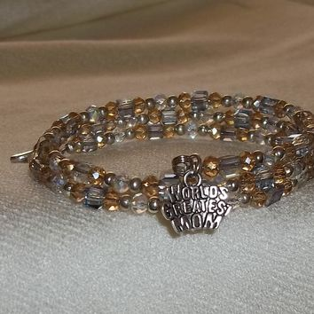 """World's Greatest Mom"" Clear, Pale Yellow & Pale Blue Swarovski Crystal Beaded Silver Artisan Crafted Wrap Bracelet"
