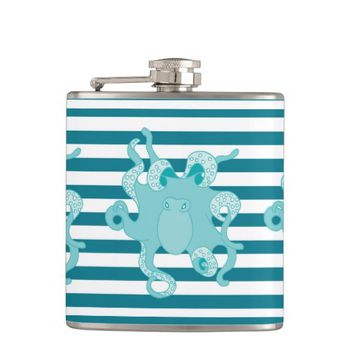 Octopus Blue Bold Stripes Flask