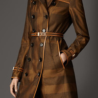 Long Check Cotton Trench Coat