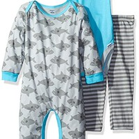 Baby Boys' 3 Piece Coverall, Bodysuit and Pant Set