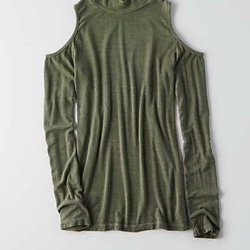 Don't Ask Why Cold Shoulder Mockneck, Olive