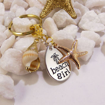 Beach girl keychain, beach girl accessories, beach girl gift, silver and gold beach girl key chain, seashell keychain, starfish keychain