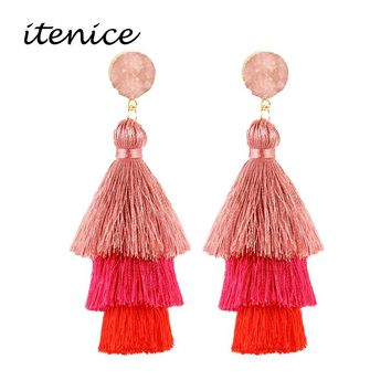 Bohemian 3 Layered Fringed Statement Tassel Earrings Good Quality Brand Hot Sale Women Natural Stone Drop Dangle Earings Jewelry