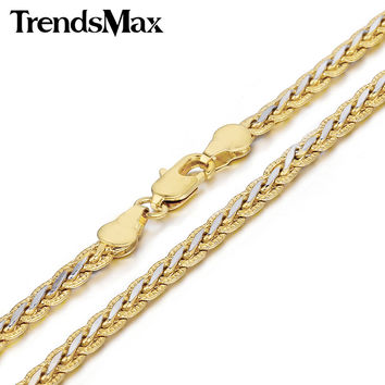 Trendsmax 3 4mm Hammered Braided Wheat Link Yellow White Gold Filled Necklace Womens Mens Chain Fashion Jewelry GN328 GN411