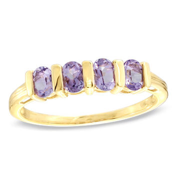 Oval Amethyst Band in 10K Gold