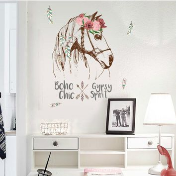 Horse Head Personality Wall sticker Mural Removable DIY Room Decor Declas Bedroom Wall Decal SK7092