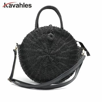 Women Handmade Round Beach Shoulder Bag Bali Circle Straw Bag Summer Woven Rattan Handbags Women Messenger Bag INS Popular LW-93