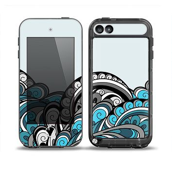 The Abstract Black & Blue Paisley Waves Skin for the iPod Touch 5th Generation frē LifeProof Case