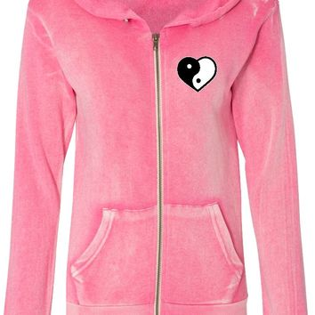 Yin Yang Heart Pocket Print Angel Fleece Full-Zip Hoodie