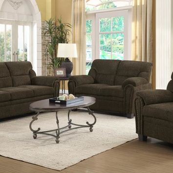 506571-72 2 pc Clementine brown chenille fabric upholstered sofa and love seat set