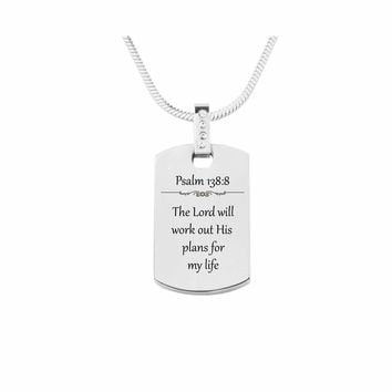 Scripture Tag Necklace with Cubic Zirconia - Psalm 138:8