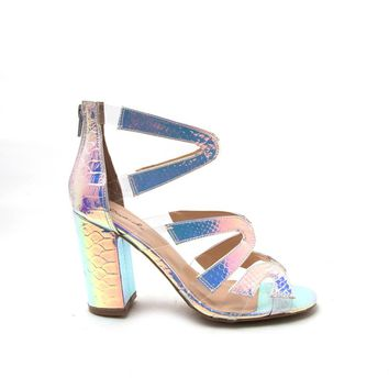 CHESTER-78 Silver Iridescent Snake Caged Strappy Sandal