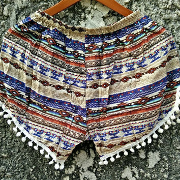 Bohemian Boho Ethnic pom pom  Shorts Ikat print fabric Boho pattern Styles festival Clothing Rayon  Summer holiday Clothing Beach Women chic
