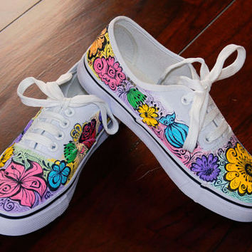 Hand painted women sneakers, Pastel  blossom shoes, Birtday gift for her, Unique handpainted sneakers, custom sneakers with flowers