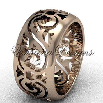 14kt rose gold floral engagement ring, wedding band VD10036G