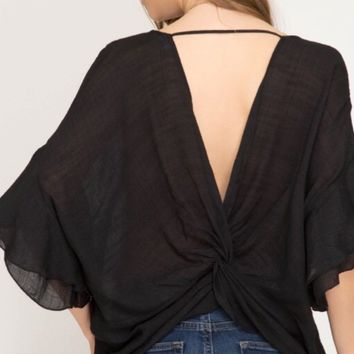 Double Ruffle Sleeve Top With Twisted Back