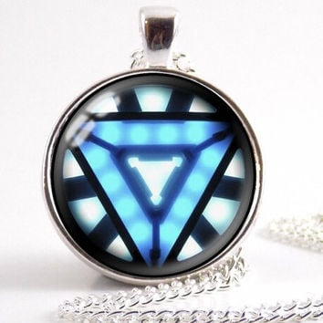 Iron Man Arc Reactor Necklace bronze or silver chain Glass Cabochon Pendant