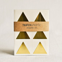 Large Gold Triangle Sticker Envelope Seals - Set of 24 - (1.5 Inch) Metallic Wedding Gift Wrapping Party Invitations Embellishment Packaging