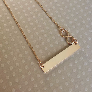 14k Gold Filled Bar Necklace Infinity From Hankandjeanjewelry On