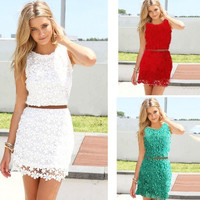 White Sleeveless Lace Dresses Summer Sexy Causal Evening Party Dress Fashion Ladies Mini Vestido = 1955597956