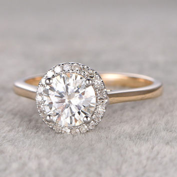 1ct brilliant Moissanite Engagement ring Two Tone Plain gold,Diamond wedding band,Halo Round Stone,Promise Bridal Ring,Anniversary Ring