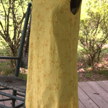 Unique 1960s Vintage Dress/ 1960s Vintage Mod Shift/1960s Sunny Yellow Dress Size S Made in USA