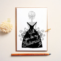 Will you be my Bridesmaid card. Modern thank you card. Bridal party card.