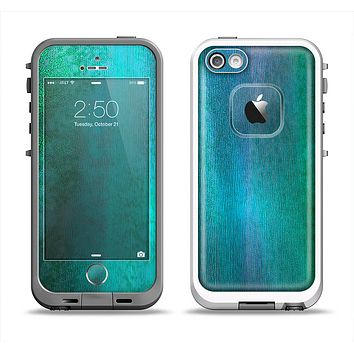 The Vivid Green Watercolor Panel Apple iPhone 5-5s LifeProof Fre Case Skin Set