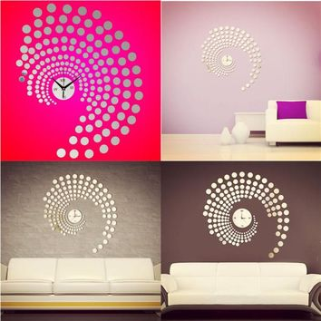 3D DIY Peacock Dot Mirror Wall Sticker Wall Clock Art Decal Home Office Decor