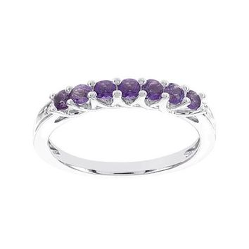 10k White Gold Amethyst & Diamond Accented Anniversary Ring