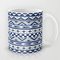 Tribal Art Pattern Navy Blue Silver White Mug by Tjc555