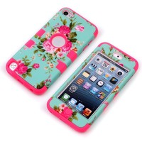iPod 5th / 6th Case, iTouch 5th / 6th Case, MagicSky Heavy Duty Dual Layer Hybrid Silicon Hard Case Cover for iPod Touch 5 6th Generation - Rose Flower/Hot Pink