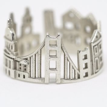 San Francisco Cityscape Sterling Silver Statement Ring - Wearable Art!