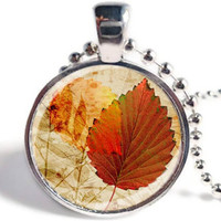 Fall Leaves Pendant, Fall Necklace, Fall Jewelry Trends, Autumn Pendant, Fall Fashion, Glass Art Pendant  (AL03)