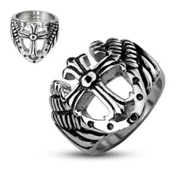 Cross of Protection - Strong Looks Black and Stainless Steel Royal Cross Ring