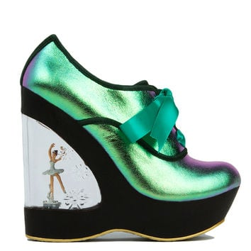Irregular Choice Glissade Ballerina Wedge in Hologram Leather