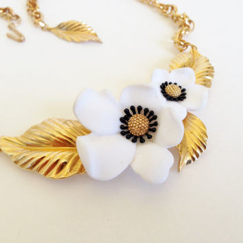 Vintage French Flower / Dogwood Necklace By Louis Feraud PARIS